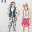 Simplicity 9843 girl vest skirt and pants sizes 4 to 12 UNCUT pattern