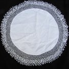 "Doily 11"" circle embroidered fabric center 1 1/2 inch crochet border white"