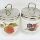 2 Royal Worcester egg coddlers peaches & berries very clean shape codler 2.75""