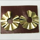 "Avon pleated circle gold tone earrings 1 1/8"" diameter pierced ears on card"