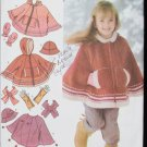 Simplicity 4812 girls poncho hat scarf mittens sizes 3 4 5 6 7 8