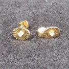 "Avon clip earrings gold tone oval center rhinestone small less than 1/2"" long"