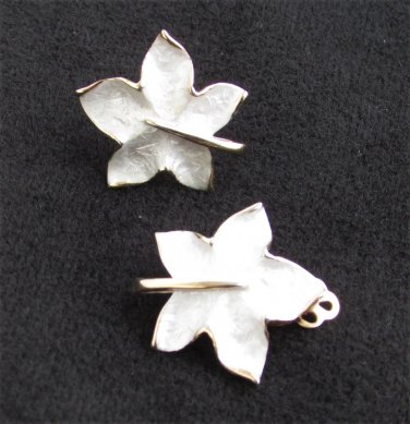 Pastelli clip leaf earrings gold tone back white enamel front vintage jewelry