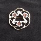 Sarah Coventry circle swirl pin flowers & leaves gold tone marked jewelry