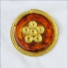 Tortoise shell pin vintage amber Lucite gold tone setting unmarked jewelry