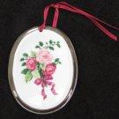 "Hallmark Cds ornament oval porcelain roses silver trim 3 3/8 x 2 1/2"""