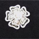 Plastic flower pin open lattice work light cream color unmarked vintage