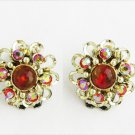 Iridescent red rhinestones and bead clip earrings vintage flower 3/4""