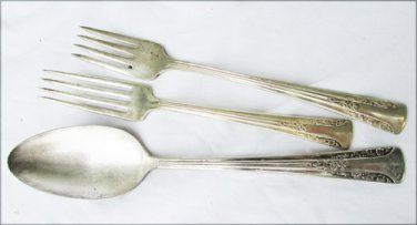 Camelia 1940s silverplate Oneida IS serve spoon two forks as is