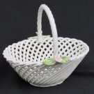 Lahuerta hand made Manises Spain mini basket lattice pink flowers