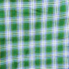 """Plaid fabric blue green vintage twill type look 34"""" wide"""