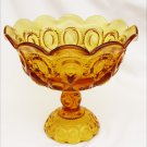 Moon and stars amber footed compote large L.E. Smith flared scalloped edge.