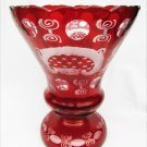 Bohemian ruby red cut to clear large vase castle bird scalloped edge crystal