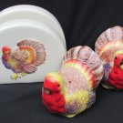 Turkey salt & pepper shakers and napkin holder ceramic never used