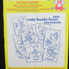 Aunt Martha hot iron transfers Cute Koala Bear for tea towels or motifs #3829