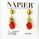 Napier modern earrings red bead dangles new on card pie tapestry