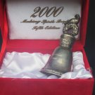 Silver plated 2000 Christmas Bell Making Spirits Bright fifth edition in box wreath top
