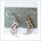 Sterling half moon dangle earrings pierced ears