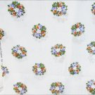 """Concord fabric white with flower wreaths peach purple 44"""""""