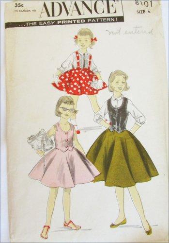 Advance 8101 girls blouse skirt weskit vintage 1950s pattern size 6 breast 24 UNCUT