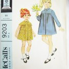 McCall 9203 girls coat dress size 6 breast 25 vintage 1968 missing sleeve band