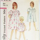 Simplicity 4496 girls baby doll pajamas duster size 10 breast 28 pattern