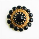 Vintage black rhinestone pin gold tone mesh setting 1 1/2 inch brooch jewelry