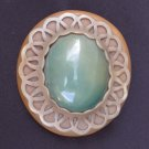 """Celluloid belt buckle oval large green plastic center scroll edge 2 1/2 x 2 3/4"""""""