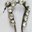 Rhinestone hair pin double prong brass fork style vintage one stone replaced