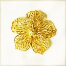 Gerry flower pin gold tone 5 petals open work signed