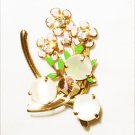 Vintage pin mother of pearl with painted flowers wishbone setting gold tone jewelry