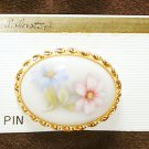 Painted porcelain pin oval white pink blue flowers on Alabaster brand card new