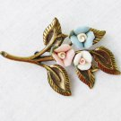 Vintage china rose pink white blue flower pin and brass leaves brooch
