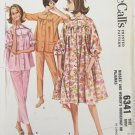 McCall 6341 misses housecoat and pajamas size 12 vintage 1962 pattern
