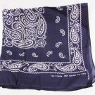 "Navy bandana Fast Color all cotton ood 20 x 21"" paisley pattern good"