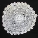 Hand crocheted 12 inch circle doily white fine thead