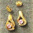 Stud earrings purple stone in gold tone tear drop setting