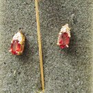 Stick pin and stud earrings set red stone gold tone setting jewelry