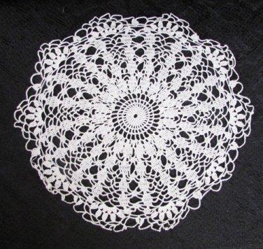 "Doily hand crocheted light ecru 8 1/4"" circle fine thread very clean"