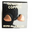 Copper heart stud earrings never used on card