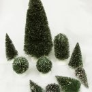 Department 56 trees 6 bristle pine type assorted sizes + 4 without stands as is