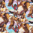 American Indian buffalo eagle wildlife fabric Springs Creative Products 18 x 44""