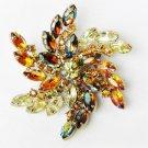 """Pin pronged rhinestones large yellow amber stones 3"""" diameter flower burst"""