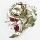 Napier sterling fur clip large rose vintage marked dress pin good