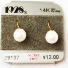 1928 faux pearl earrings 14K GF wire hook type pierced ears on original card