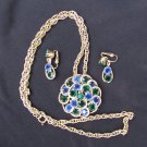 Blue green rhinestones clip earring & necklace pendant set gold tone link chain