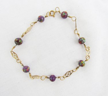"""Millefiore beads and links 14 KGF delicate look bracelet anklet 8"""""""