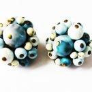 Clip earrings Japan white aqua blue beads vintage jewelry