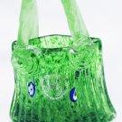 Margie's Garden art studio California green glass purse basket with sticker