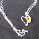 Heart pendant yellow stone clear rhinestones silver tone setting modern necklace